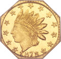 California Fractional Gold, 1875 25C Indian Octagonal 25 Cents, BG-784, High R.5, MS66 PCGS....