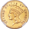 Three Dollar Gold Pieces, 1857-S $3 AU53 NGC....