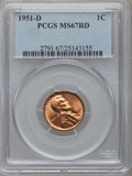 Lincoln Cents, 1951-D 1C MS67 Red PCGS....