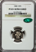 Proof Three Cent Nickels, 1868 3CN PR65+ Ultra Cameo NGC. CAC....