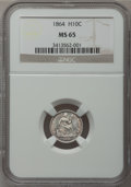 Seated Half Dimes, 1864 H10C MS65 NGC....