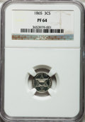 Proof Three Cent Silver, 1865 3CS PR64 NGC....