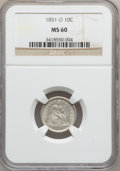 Seated Dimes, 1851-O 10C MS60 NGC....