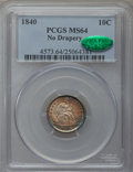 Seated Dimes, 1840 10C No Drapery MS64 PCGS. CAC....