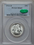 Barber Quarters, 1916-D 25C MS65 PCGS. CAC....