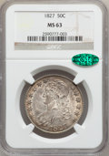 Bust Half Dollars, 1827 50C Square Base 2 MS63 NGC. CAC. O-106, R.2....