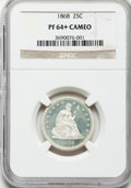 Proof Seated Quarters, 1868 25C PR64+ Cameo NGC....