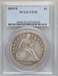 Seated Dollars, 1859-S $1 VF20 PCGS....