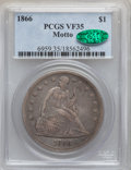 Seated Dollars, 1866 $1 Motto VF35 PCGS. CAC....