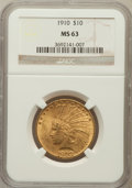 Indian Eagles: , 1910 $10 MS63 NGC. NGC Census: (1020/579). PCGS Population(978/349). Mintage: 318,500. Numismedia Wsl. Price for problem f...