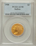 Indian Half Eagles: , 1908 $5 AU58 PCGS. PCGS Population (608/4590). NGC Census:(829/6396). Mintage: 577,800. Numismedia Wsl. Price for problem ...