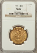Liberty Eagles: , 1905-S $10 MS61 NGC. NGC Census: (83/31). PCGS Population (31/55).Mintage: 369,250. Numismedia Wsl. Price for problem free...