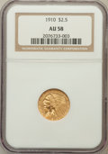 Indian Quarter Eagles: , 1910 $2 1/2 AU58 NGC. NGC Census: (981/6691). PCGS Population(723/2644). Mintage: 492,000. Numismedia Wsl. Price for probl...