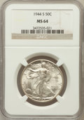 Walking Liberty Half Dollars: , 1944-S 50C MS64 NGC. NGC Census: (3327/1431). PCGS Population(4376/2966). Mintage: 8,904,000. Numismedia Wsl. Price for pr...