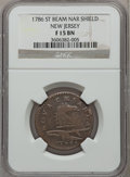 Colonials: , 1786 COPPER New Jersey Copper, Narrow Shield Fine 15 NGC. NGCCensus: (3/49). PCGS Population (24/141). ...