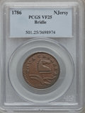 Colonials: , 1786 COPPER New Jersey Copper, Bridle VF25 PCGS. PCGS Population(3/24). NGC Census: (1/7). ...