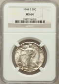 Walking Liberty Half Dollars: , 1944-S 50C MS64 NGC. NGC Census: (3328/1433). PCGS Population(4378/2969). Mintage: 8,904,000. Numismedia Wsl. Price for pr...