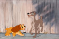 Animation Art:Production Cel, Lady and the Tramp Production Cel and Background (WaltDisney, 1955)....