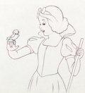 Animation Art:Production Drawing, Snow White and the Seven Dwarfs Snow White With Little BirdProduction Drawing (Walt Disney, 1937)....
