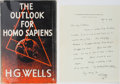 Books:World History, H. G. Wells. WITH ALS. The Outlook of Homo Sapiens. Seckerand Warburg, 1942. First edition, first printing. A...