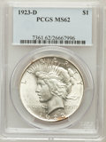 Peace Dollars: , 1923-D $1 MS62 PCGS. PCGS Population (592/3309). NGC Census:(381/2171). Mintage: 6,811,000. Numismedia Wsl. Price for prob...
