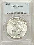 Peace Dollars: , 1926 $1 MS64 PCGS. PCGS Population (3550/1370). NGC Census:(3094/745). Mintage: 1,939,000. Numismedia Wsl. Price for probl...
