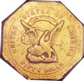 Territorial Gold, 1852 $50 RE Humbert Fifty Dollar, 887 Thous. VF30 PCGS. K-11,R.5....