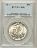 Walking Liberty Half Dollars: , 1947 50C MS64+ PCGS. PCGS Population (4354/4610). NGC Census:(2486/3465). Mintage: 4,094,000. Numismedia Wsl. Price for pr...