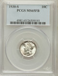 Mercury Dimes: , 1930-S 10C MS65 Full Bands PCGS. PCGS Population (155/77). NGCCensus: (25/15). Mintage: 1,843,000. Numismedia Wsl. Price f...