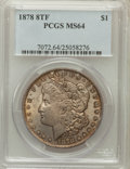 Morgan Dollars: , 1878 8TF $1 MS64 PCGS. PCGS Population (2361/513). NGC Census:(1950/376). Mintage: 699,300. Numismedia Wsl. Price for prob...
