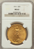 Saint-Gaudens Double Eagles: , 1911 $20 MS63 NGC. NGC Census: (490/466). PCGS Population(761/466). Mintage: 197,200. Numismedia Wsl. Price for problemfr...