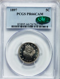 Proof Liberty Nickels, 1897 5C PR66 Cameo PCGS. CAC....