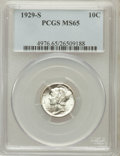 Mercury Dimes: , 1929-S 10C MS65 PCGS. PCGS Population (67/45). NGC Census: (62/46).Mintage: 4,730,000. Numismedia Wsl. Price for problem f...