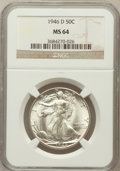 Walking Liberty Half Dollars: , 1946-D 50C MS64 NGC. NGC Census: (3071/8582). PCGS Population(6262/10874). Mintage: 2,151,000. Numismedia Wsl. Price for p...