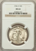 Walking Liberty Half Dollars: , 1946-D 50C MS64 NGC. NGC Census: (3060/8634). PCGS Population(6239/10872). Mintage: 2,151,000. Numismedia Wsl. Price for p...