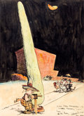 Original Comic Art:Sketches, George Herriman Krazy Kat Color Sketch Original Art (1934)....