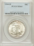 Walking Liberty Half Dollars: , 1944-D 50C MS64 PCGS. PCGS Population (2725/5849). NGC Census:(1318/3927). Mintage: 9,769,000. Numismedia Wsl. Price for p...