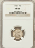 Barber Dimes: , 1906 10C MS65 NGC. NGC Census: (44/8). PCGS Population (37/17).Mintage: 19,958,406. Numismedia Wsl. Price for problem free...