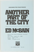 Books:Mystery & Detective Fiction, Ed McBain. INSCRIBED. Another Part of the City. MysteriousPress, 1986. Uncorrected proof. Signed and inscribe...