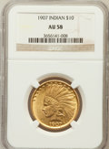 Indian Eagles: , 1907 $10 No Periods AU58 NGC. NGC Census: (828/5069). PCGSPopulation (859/4484). Mintage: 239,400. Numismedia Wsl. Price f...