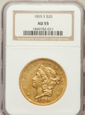 Liberty Double Eagles: , 1855-S $20 AU55 NGC. NGC Census: (184/158). PCGS Population(49/60). Mintage: 879,675. Numismedia Wsl. Price for problem fr...