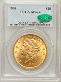 Liberty Double Eagles, 1904 $20 MS63+ PCGS. CAC. PCGS Population (53890/34679). NGCCensus: (72522/40186). Mintage: 6,256,797. Numismedia Wsl. Pri...