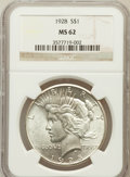 Peace Dollars: , 1928 $1 MS62 NGC. NGC Census: (1265/2376). PCGS Population(1446/4087). Mintage: 360,649. Numismedia Wsl. Price for problem...