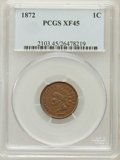 Indian Cents: , 1872 1C XF45 PCGS. PCGS Population (117/310). NGC Census: (47/346).Mintage: 4,042,000. Numismedia Wsl. Price for problem f...