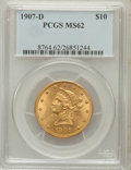Liberty Eagles: , 1907-D $10 MS62 PCGS. PCGS Population (191/169). NGC Census:(55/19). Mintage: 1,030,000. Numismedia Wsl. Price for problem...