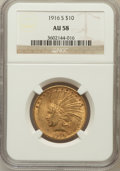 Indian Eagles: , 1916-S $10 AU58 NGC. NGC Census: (257/429). PCGS Population(222/482). Mintage: 138,500. Numismedia Wsl. Price for problem ...