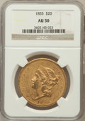 Liberty Double Eagles: , 1855 $20 AU50 NGC. NGC Census: (39/204). PCGS Population (36/99).Mintage: 364,666. Numismedia Wsl. Price for problem free ...
