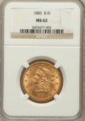 Liberty Eagles: , 1883 $10 MS62 NGC. NGC Census: (457/103). PCGS Population (304/78).Mintage: 208,740. Numismedia Wsl. Price for problem fre...