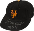 Baseball Collectibles:Uniforms, 1954 Willie Mays Game Worn New York Giants Cap....