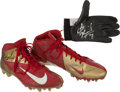 Football Collectibles:Uniforms, 2012 Colin Kaepernick Game Worn Cleats & Glove from Patriots Game....